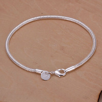 Wholesale! Free Shipping Wholesale 925 silver bracelet, 925 silver fashion jewelry 3mm Snake Bone Bracelet H187
