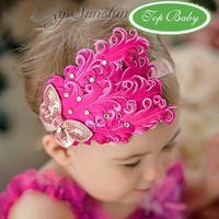 2013 NEW Free shipping 1PC/Lot Cute Baby Girl Children Feather Flower Headbands Infant Hair Band Head Scarf Headwear/Headdress