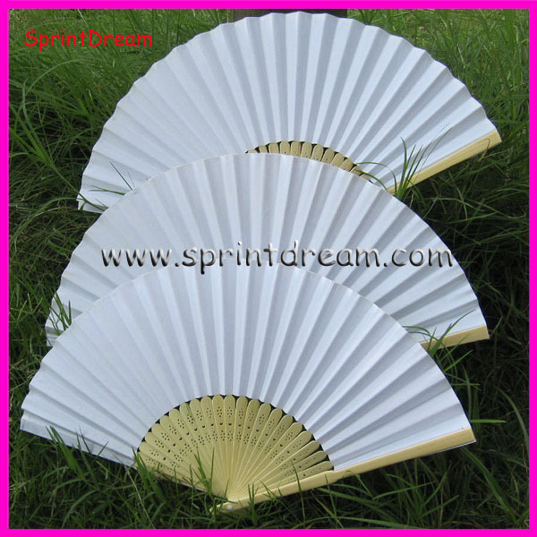 (50pcs/lot) Free Shipping! White paper fan, wedding fan, hand fan, Japanese fan(China (Mainland))