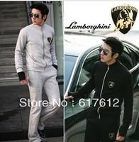 2012 Free shipping printed patterns men's casual sports suit (jacket + pants),men sportswear tracksuit / sweatsuit XXL black