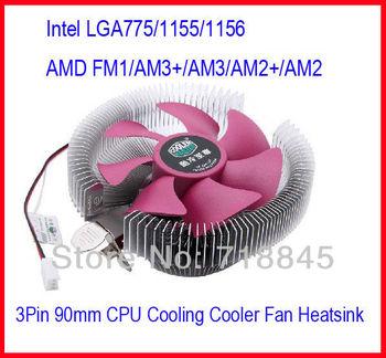 Brand New Cooler Master Computer Intel LGA 775 1155 1156 / AMD CPU 3Pin 90mm Cooling Cooler Fan Heatsink Set Free Shipping