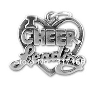 Free shipping 10PCS Antique silver Alloy Word I Love Cheerleading Charm(H101821)