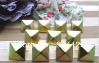 Factory direct 1000pcs brass DIY 6MM pyramid square stud and Rivet Punk Bag Belt Leathercraft Free shipping