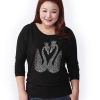 Msshe plus size clothing spring stretch cotton slim batwing sleeve long-sleeve T-shirt rhinestones