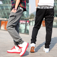 Letter print large pocket sports pants casual pants foot trousers male yj418ft