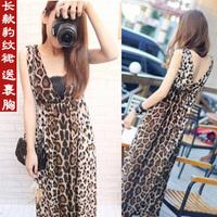ion FashWomen's Summer V-neck Backless sexy leopard print slim design Chiffon long dress