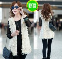 2013 women's slim long design vintage sweater female knitted cardigan paillette vest