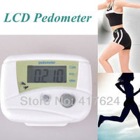 NEW White LCD Run Step Pedometer Walking distance Calorie Counter, free shipping