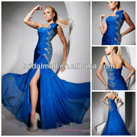Sparkling one shoulder sequence beaded spaghetti straps side slit floor length prom pageant dresses XF28