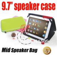 free shipping universal speaker case for 9.7inch tablet pc, MID, multi color.tablet sleeve bag music speaker handbag