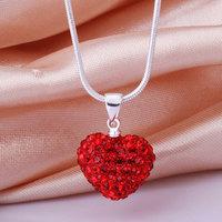 Shamballa New Arrivals 2013 Shambala Heart Crystal Pendant Necklace Top Quality Rhinestones Ball Bead Jewelry N028