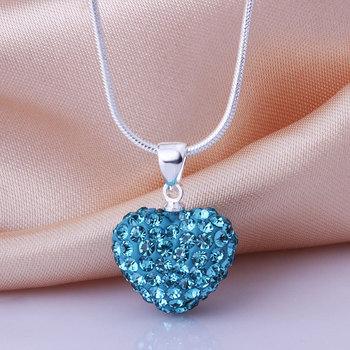 Shamballa New Arrivals 2013 Shambala Heart Crystal Pendant Necklace Top Quality Rhinestones Ball Bead Jewelry N029