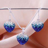 Shamballa 2013 Shambala Heart Crystal Pendant Necklace Earrings Set Rhinestones Ball Bead Jewelry Set S014
