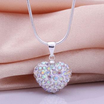 Shamballa New Arrivals 2013 Shambala Heart Crystal Pendant Necklace Top Quality Rhinestones Ball Bead Jewelry N041