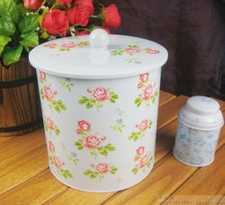 Blue round tin big tin storage rose cookie jar meters tank dried fruit jar(China (Mainland))