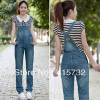 Free Shipping 2013 New Summer Denim Bib Pants Women Casual Denim Jumpsuits Trousers Ladies Rompers Jeans Blue Female Overalls