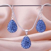 Shamballa 2013 Shambala Water Drop Crystal Pendant Necklace Earrings Set Rhinestones Ball Bead Jewelry Set S033