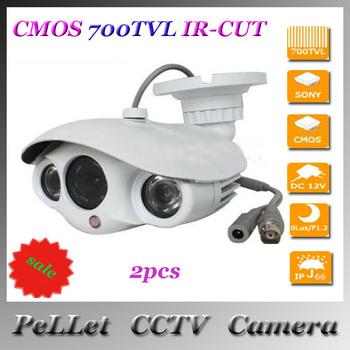 "1/3""CMOS 700TVL IR-CUT Filter 2pcs Array White Video Security  Indoor/Outdoor CCTV Camera with Bracket  Waterproof  2pcs"