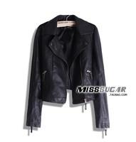 Hot sale Fashion Pimkie wash PU Plus size Slim Locomotive leather coat Free shipping XS-XL Black Color