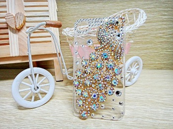 Unique Design Bling Case Glittering Rhinestone Colorful Peacock in Crystal Diamonds Case For IPHONE 4 4s