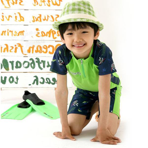 Swimwear short-sleeve child swimwear male child boy baby split swimwear swimming trunks(China (Mainland))