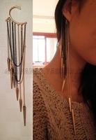 punk rivet spike long tassel design unilateral ear hook earrings
