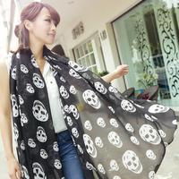 Blue 2013 fashion long silk scarf ultralarge skull chiffon silk scarf cape scarf
