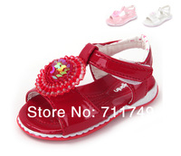 2014 Hot Summer Autumn Fashion Brand Flower Children Kids Toddler Baby Girls PU Shoes Beach Sandals Pink & Red
