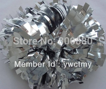 "wholesale client 8"" PET metallic silver baton handle cheerleading pom poms  free shipping"
