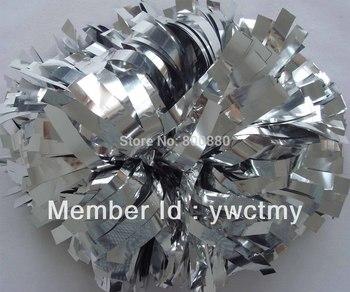 "wholesale client 8"" PET metallic silver baton handle cheerleading pom poms  free shipping"