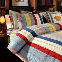 Yarn dyed 100% cotton  quilting bedding set,three pieces  230*240cm+50*65cm*2