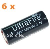 6 x UltraFire 5800mAh 3.7v 26650 LI-Ion Lithium Rechareable Battery for LED Flashlight Torch