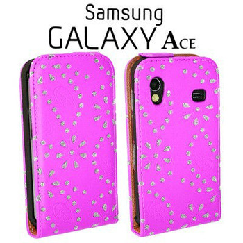 free shipping Bling Leather Diamond Flip Rhinestone Case Cover For Samsung Galaxy Ace S5830 Cell Phone Accessories