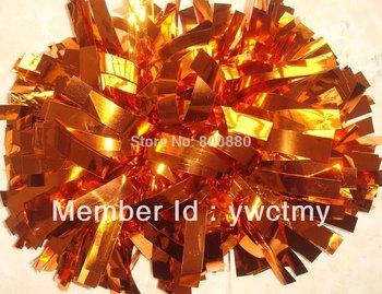 "10"" PET metallic orange baton handle cheerleading pom poms  free shipping"