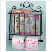 Wrought iron bathroom towel rack wall towel rack magazine rack roll holder storage rack