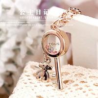ITALINA 18k gold plated rose gold transparent key bear sweetheart fashion necklace