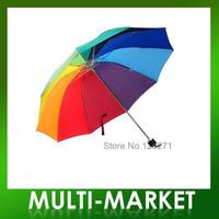 Free shipping/4-Foldable Rainbow Umbrella  Large Sun/Rain Umbrella Colorful Golf Umbrella