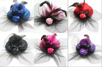 "9 colors Mini Top Hat with Veil, Feathers and Roses 5"" in diameter Fascinator Fancy Dress headwear 12pcs/lot"