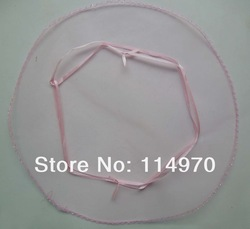 Free shipping--100pcs 26cm Pink Wedding Favor Candy Bags Round Organza Gift Bags Organza Tulle Circles(China (Mainland))