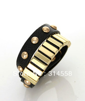 Free Shipping Hot Sale Black Leather Double Wrap Belt Bracelet. 2013 Bangle Bracelet