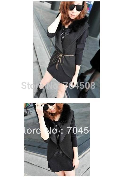 J36 Korean Women Faux Fur Collar Woolen Blend Vest Jacket Coat Outwear Black S M(China (Mainland))