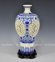 Achievo lusterware cutout eggshell vase modern fashion ivory blue and white porcelain decoration