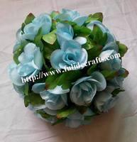 25cm wedding silk kissing ball with green leaf-Lake blue