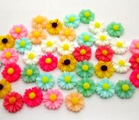 100 Mixed Resin Flower Beads Cabochon Scrapbook Fit Phone Embellishments