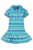baby sky biue clothing  ,girls short sleeve dress ,striped girls dress ,5piece/lot BI03
