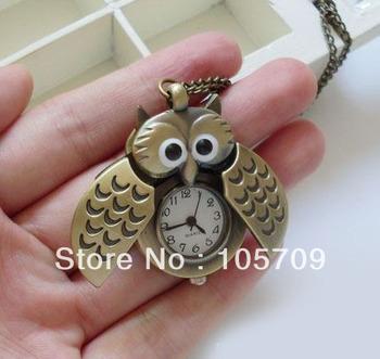 Bronzed Retro Owl Slide Pocket Watch Vintage Necklace Fobwatch Quartz On Chain H0040