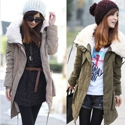 Lady Korea Warm Zip Fleece Winter Coat Jacket Outwear Parka Khaki Army Green, 2 Color Available. Free & Drop Shipping(China (Mainland))