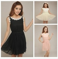 free shipping beach slim eveing dress women chiffon party cute o neck dress