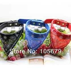 12pc/lot Free Shipping Q162 PU + Cloth Material The Small Dog Pet Scarf Small Animals Collar Red Blue Color Drop Shipping(China (Mainland))