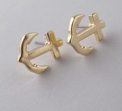 Free Shipping,Retro Gold Anchor Studs Earring,12pair/lot(China (Mainland))